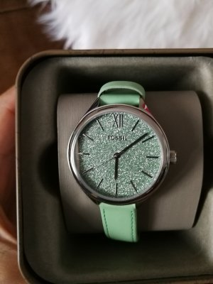 Fossil Watch With Leather Strap lime-green