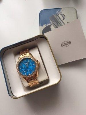 Fossil Uhr Neuwertig Rosegold blau mit Steinen