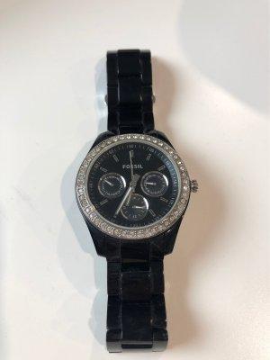 Fossil Uhr schwarz Glitzer