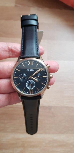 fossil Uhr Schwarz neu Lederband