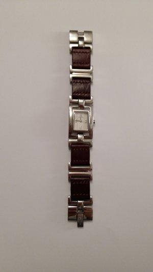 Fossil Uhr silber mit braunem Armband