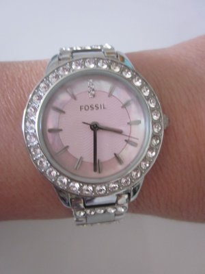 Fossil Watch With Metal Strap light grey-light pink stainless steel