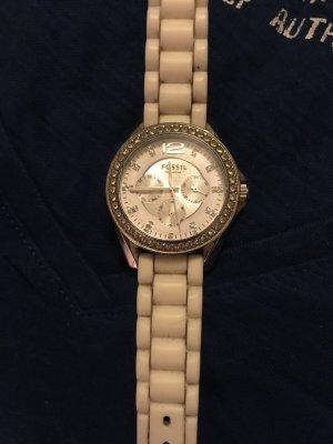 Fossil Uhr weiß/silber Steinchen