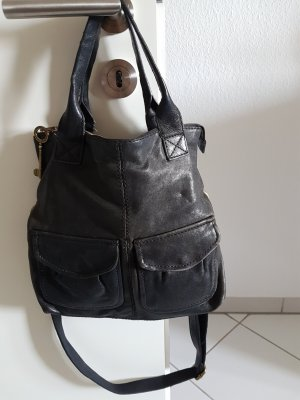 Fossil Crossbody bag black-gold-colored leather