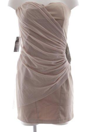 Four flavor Vestido bandeau beige-rosa empolvado elegante