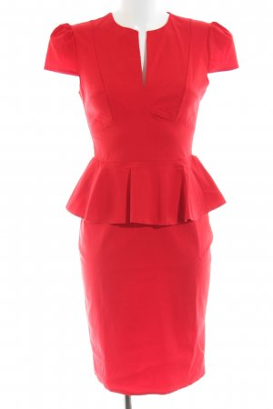 Four flavor Peplum Dress red business style