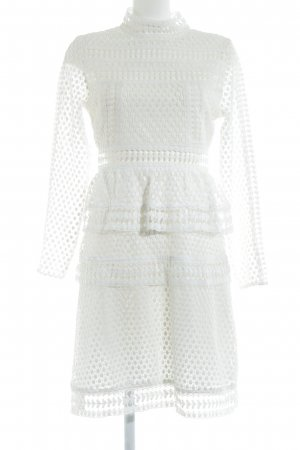 Four flavor Lace Dress white loosely knitted pattern