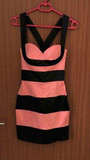 Four Flavour Kleid Rosé rosa schwarz Gr. 36 S Trägerkleid gestreift Party sexy Silvester Festtage