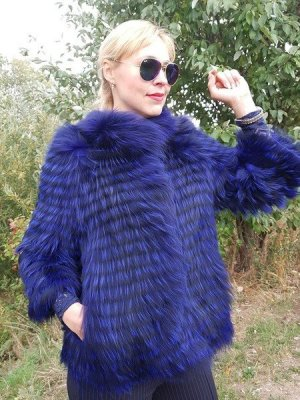FOX FUR COAT Echt Pelz Mantel Fuchs JACKET Blau Fell Jacke