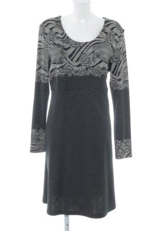 FOX'S Langarmkleid schwarz-weiß abstraktes Muster Casual-Look