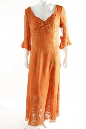 Fox's Maxikleid orange-dunkelgelb florales Muster