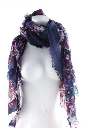 Fraas Halstuch dunkelblau-violett Blumenmuster Casual-Look