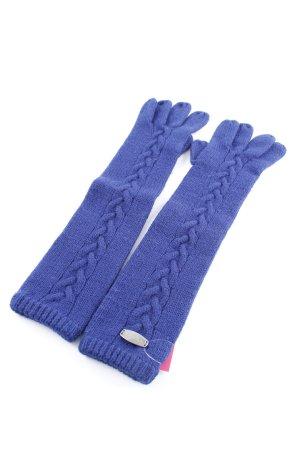 Fraas Guanto in maglia blu punto treccia stile casual