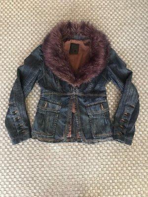 Fracomina Designer Jacke Gefütterte Jeansjacke tailliert mit abnehmbaren XL Fellkragen violett Fell