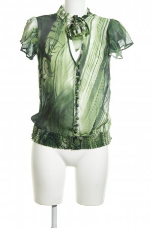 Fracomina Seidenbluse grün abstraktes Muster Vintage-Look