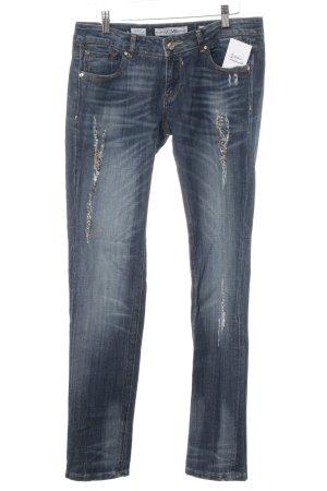 Fracomina Slim Jeans stahlblau-dunkelblau Destroy-Optik