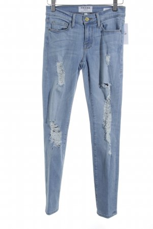 Frame Denim Skinny Jeans himmelblau Street-Fashion-Look