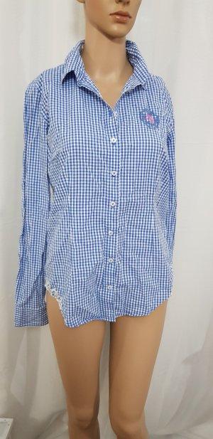 franco callegari bluse hemd blau Weiß