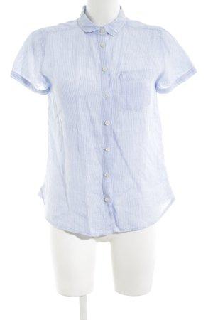 Franco Callegari Kurzarm-Bluse blau-weiß Streifenmuster Casual-Look