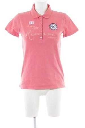 Franco Callegari Polo-Shirt pink-creme Schriftzug gedruckt Casual-Look