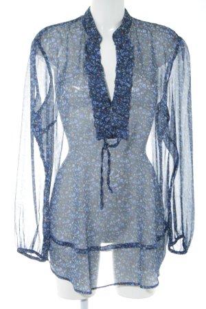 Franco Callegari Transparenz-Bluse blau Blumenmuster Transparenz-Optik