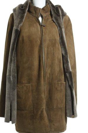 franco di marco Giacca in pelle marrone-marrone-grigio stile casual