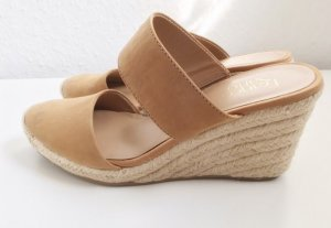 Wedge Sandals cognac-coloured leather