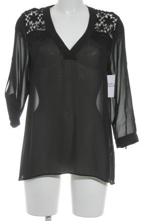 Francomina Schlupf-Bluse schwarz Blumenmuster klassischer Stil