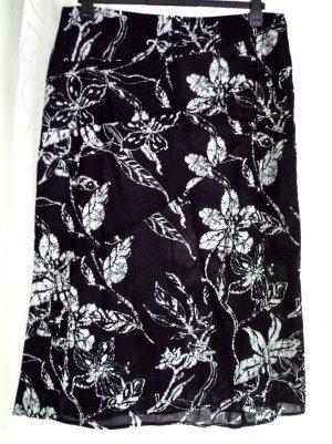 FRANK EDEN Maxi Sommerrock Rock Damenrock Batik schwarz weiß 46