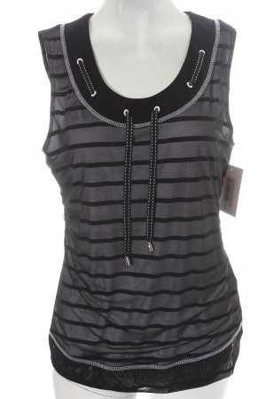 Frank Lyman Tanktop schwarz-weiß Streifenmuster Street-Fashion-Look