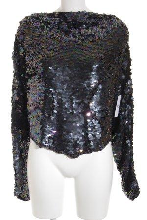 Frank Usher Rundhalspullover schwarz extravaganter Stil