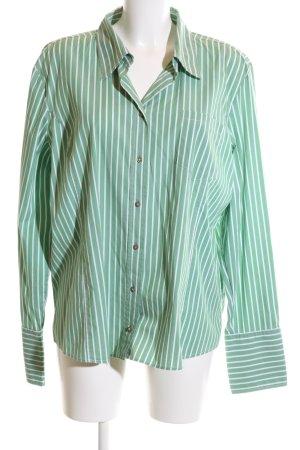Frank Walder Hemd-Bluse grün-weiß Streifenmuster Business-Look