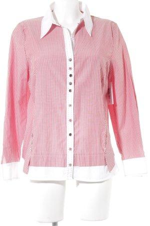Frank Walder Hemd-Bluse wollweiß-ziegelrot Streifenmuster Business-Look