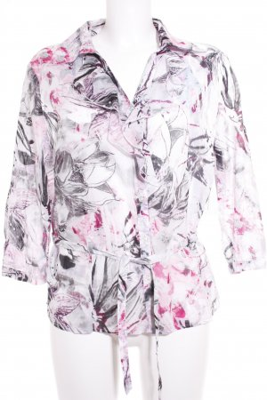 Frank Walder Ruche blouse abstract patroon casual uitstraling