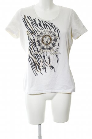 Frank Walder T-Shirt wollweiß Motivdruck Casual-Look