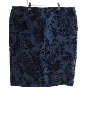 Frank Walder Tweed rok blauw-zwart volledige print casual uitstraling