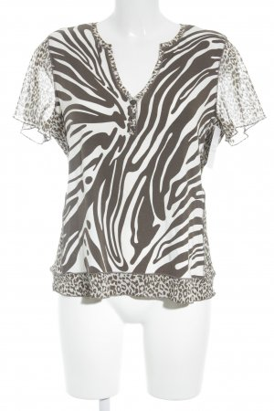 Frank Walder V-Neck Shirt natural white-grey brown animal pattern animal print