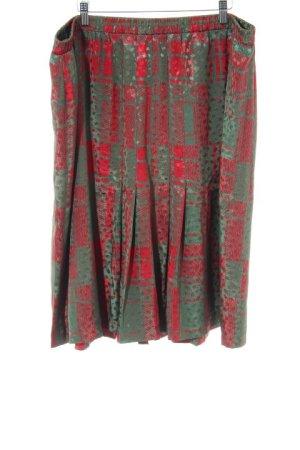 Frankenwälder Faltenrock rot-khaki abstraktes Muster extravaganter Stil