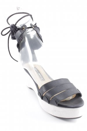 Frankie Morello Wedge Sandals black-light grey street-fashion look