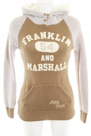 Franklin & marshall Strickpullover camel-creme Schriftzug gestickt Casual-Look