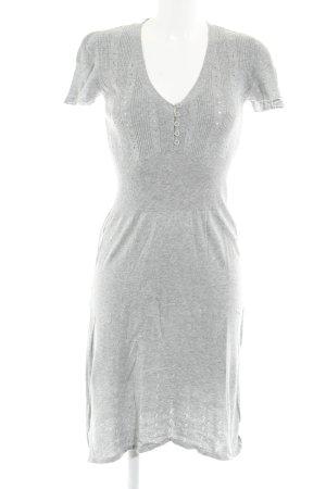 Fransa A-Linien Kleid hellgrau Lochstrickmuster Casual-Look