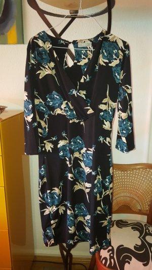 Fransa Blumen Kleid blau schwarz Gr36 / S