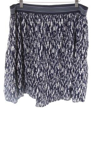 Fransa Glockenrock weiß-dunkelblau abstraktes Muster Casual-Look
