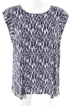 Fransa Kurzarm-Bluse weiß-dunkelblau abstraktes Muster Casual-Look