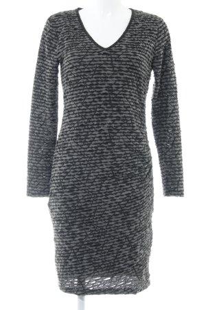 Fransa Langarmkleid schwarz-grau abstraktes Muster Casual-Look