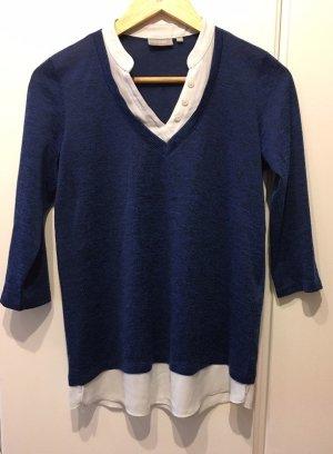 Fransa Hemdblouse donkerblauw-wit