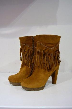 Fransen Boots 38 Cognac Leather + Kette New