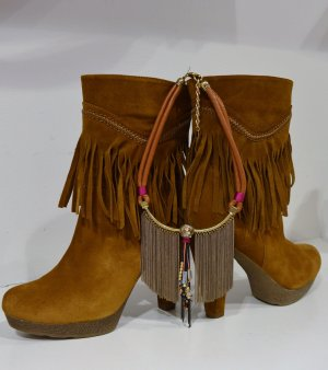 Fransen Boots Cognac Leather + Kette New