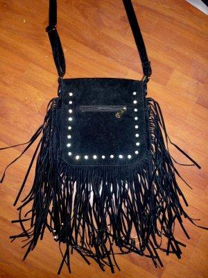 Fransen Handtasche Nieten schwarz goldfarbener Zipper Luxus