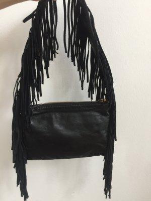 Fransen Handtasche, schwarz, klein, schick